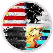 Max Stars And Stripes In Quad Colors Round Beach Towel