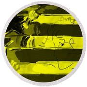 Max Stars And Stripes In Yellow Round Beach Towel