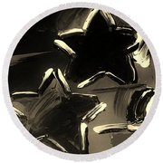 Max Two Stars In Sepia Round Beach Towel