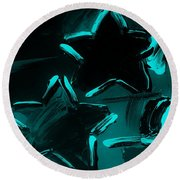 Max Two Stars In Turquois Round Beach Towel