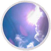 Maxfield Parrish Blue Clouds Over Lagrange Round Beach Towel