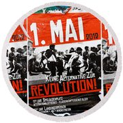 May Day 2012 Poster Calling For Revolution Round Beach Towel