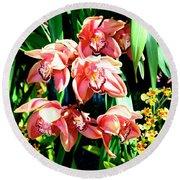 Joy Orchids Round Beach Towel