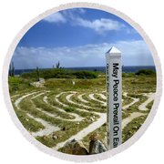 May Peace Prevail On Earth Peace Labyrinth Aruba Round Beach Towel