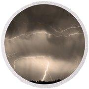 May Showers - Lightning Thunderstorm Sepia 5-10-2011 Round Beach Towel