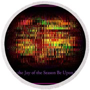 May The Joy Of The Season Be Upon You - Christmas Lights - Holiday And Christmas Card Round Beach Towel