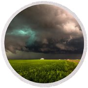 May Thunderstorm - Storm Twists Over House On Colorado Plains Round Beach Towel
