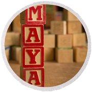Maya - Alphabet Blocks Round Beach Towel