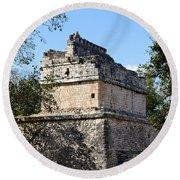 Mayan Ruin At Chichen Itza Round Beach Towel