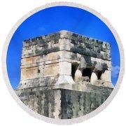 Mayan Ruins Round Beach Towel