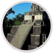 Mayan Ruins - Tikal Guatemala Round Beach Towel