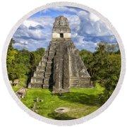 Mayan Temple At Tikal Round Beach Towel