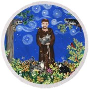 May's St. Francis Round Beach Towel by Sue Betanzos