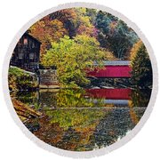 Mcconnell's Mill And Covered Bridge Round Beach Towel