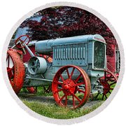 Mccormick Deering Red-wheeled Tractor Round Beach Towel