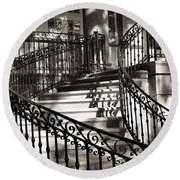 Mccormick Mansion Staircase Round Beach Towel