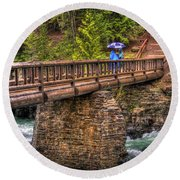 Mcdonald Creek Bridge Round Beach Towel