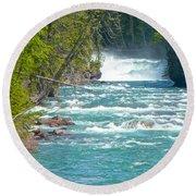 Mcdonald Creek Falls In Glacier Np-mt Round Beach Towel