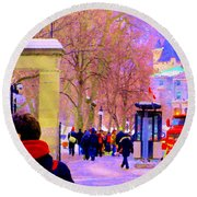 Mcgill Campus Eager Students Enter Roddick Gates Montreal Collectible Art Prints Carole Spandau  Round Beach Towel