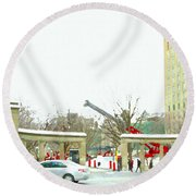 Mcgill Campus Student Cycles By Roddick Gates Sherbrooke St Montreal Winter Scene Carole Spandau  Round Beach Towel