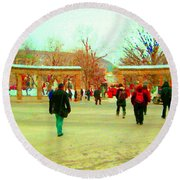 Mcgill Univ Students And Faculty College Campus Montreal Memories Collectible Art Prints C Spandau Round Beach Towel