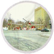 Mcgill University Campus Sherbrooke Street Scene Early Morning Winter Day Montreal Carole Spandau Round Beach Towel