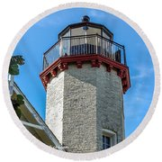 Mcgulpin Point Lighthouse Michigan Round Beach Towel