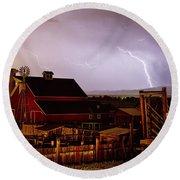 Mcintosh Farm Lightning Thunderstorm Round Beach Towel by James BO  Insogna