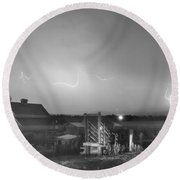 Mcintosh Farm Lightning Thunderstorm View Bw Round Beach Towel