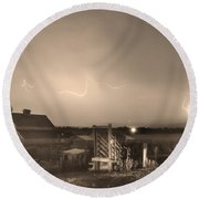 Mcintosh Farm Lightning Thunderstorm View Sepia Round Beach Towel by James BO  Insogna