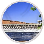 Mcnary  Hydroelectric Dam Round Beach Towel by Robert Bales
