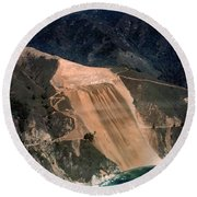 Aerial Of Mcway Landslide Big Sur California 1984 Round Beach Towel