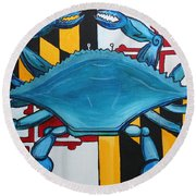 Md Blue Crab Round Beach Towel