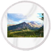 Meadow And Mountains Round Beach Towel