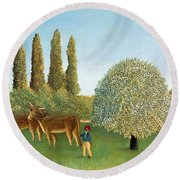 Meadowland. The Pasture  Round Beach Towel