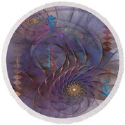 Meandering Acquiescence - Square Version Round Beach Towel