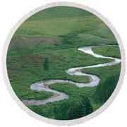 Meandering East River Round Beach Towel
