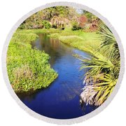 Meandering Stream Round Beach Towel