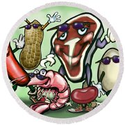 Meats Protein Food Group Round Beach Towel