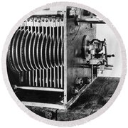 Mechanical Gear Number Sieve Round Beach Towel by Underwood Archives