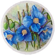 Meconopsis    Himalayan Blue Poppy Round Beach Towel