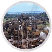 Med Village Round Beach Towel by Dominic Davison