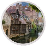 Medieval Bruges Round Beach Towel by Juli Scalzi