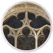 Medieval Church Window Ornaments Round Beach Towel