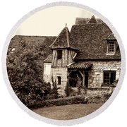 Medieval Cottage In Sarlat Sepia Round Beach Towel