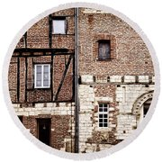 Medieval Houses In Albi France Round Beach Towel