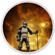 Medieval Knight In Armour On A Burning Battlefield Round Beach Towel