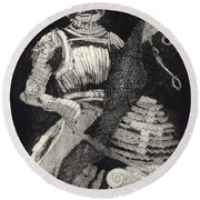 Medieval Knight On Horseback - Chevalier - Caballero - Cavaleiro - Fidalgo - Riddare -ridder -ritter Round Beach Towel