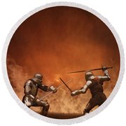 Medieval Knights In Armour Fighting With Swords Round Beach Towel
