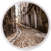 Medieval Street In France Round Beach Towel